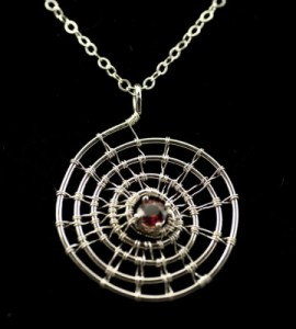 2011-8-2-Necklace-woven silver spiral with garnet