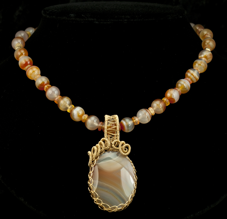 banded carnelian necklace and agate pendant