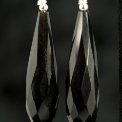 Black Spinel Faceted Drop Earrings