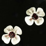 Brush finish silver and garnet flower studs fro web-edit