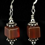 Carnelian Cube Dangle Earrings