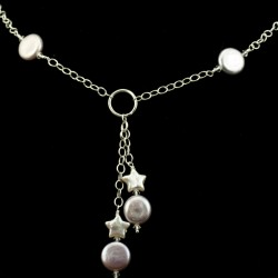 Lavender Coin Pearl Necklace