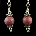 Rhodonite and Silver Drop Earrings