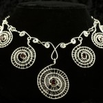 Silver-and-Garnet-Seven-Spiral-Necklace494-615