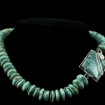 Turquoise Necklace with Silver Wrapped Turquoise Focal