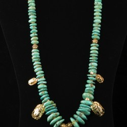 Turquoise and Vermeil Scarab Necklace