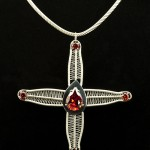 Woven silver cross on textured neckband