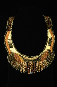 Art Deco Woven Necklace in Copper Tones with Twisted Golden Beads