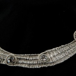 Handwoven Fine Silver Collar with Rhinestones