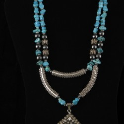 turquoise and silver two strand necklace