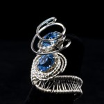 Woven Silver Ring with Blue Cubic Zirconia
