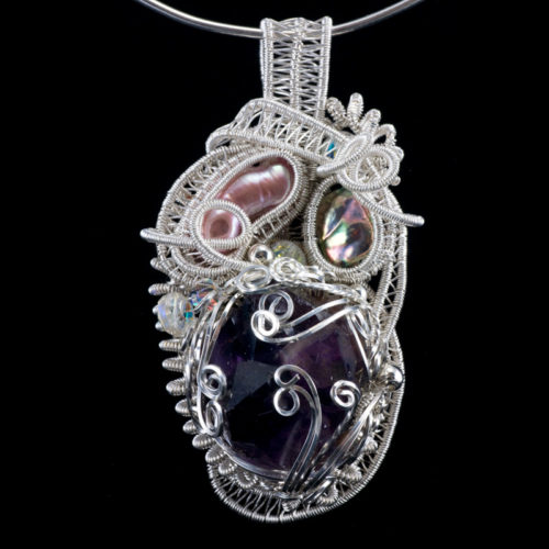 Woven silver amethyst cluster pendant