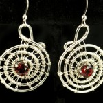 Argentium Silver Spiral Earrings with Garnets – Small