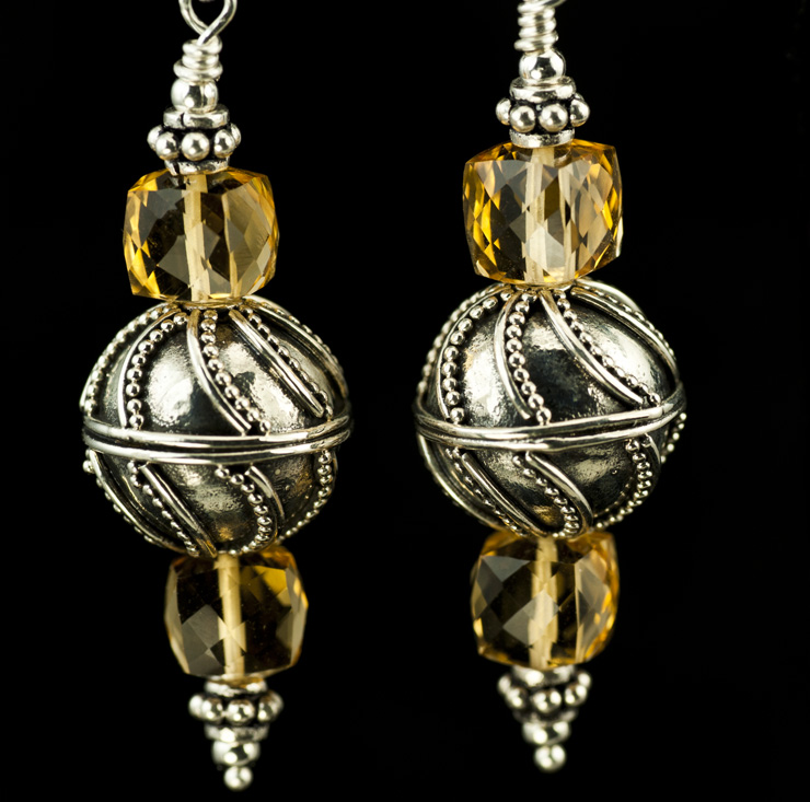 citrine cube and sterling silver dangle earrings