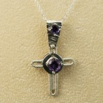 Cross-inch tall cross with bail and amethysts  on bge