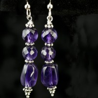 Dark Amethyst Dangle Earrings