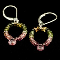 Faceted Multi-tourmaline Loop Earrings