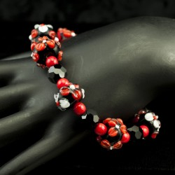 Red and Black Lampwork Bead Bracelet