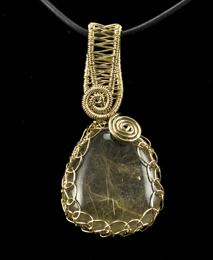 Rutilated quartz pendant in a netted and woven setting pearl rutilated quartz pendant in a netted and woven setting mozeypictures Images
