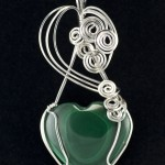 Sculptured Sterling and Malachite Heart Pendant with Earrings