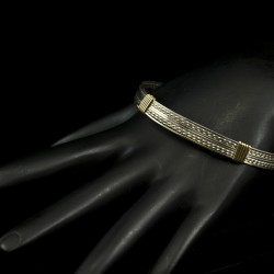 Silver and Gold Handmade Bangle Bracelet