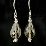 Long Faceted Smokey Quartz Drop Earrings