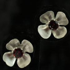Sterling Silver and Garnet Flowers Stud Earrings