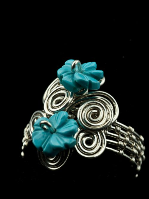 woven silver ring tuquoise flowers