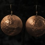 Earrings Hammered Copper Discs