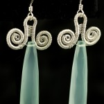 Aqua Chalcedony and Woven Silver Drop Earrings