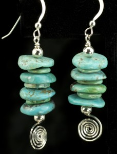 Earrings-stacked turq rondelles and silver spirals
