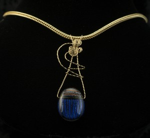 Necklace-Dichroic glass scarab in twisted gold wire