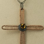 Rose gold patinated silver cross golden citrine