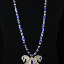 Turkoman double horse pendant on lapis and silver necklace