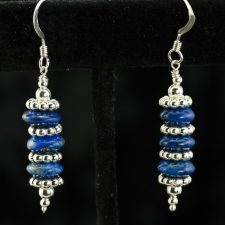 lapis and silver stack of three earrings