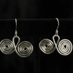 Earrings-double spirals in silver