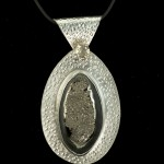Oval Silver Pendant with Citrine and Ammonite