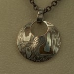 Pendant - Mokume Gane shaped circle on chain
