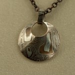 Pendant - Mokume Gane shaped circle on chain2