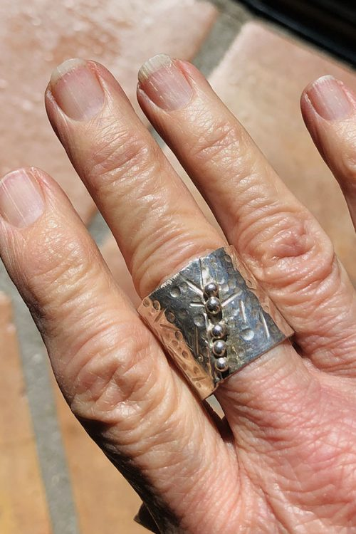 wide hammered silver ring-granulation
