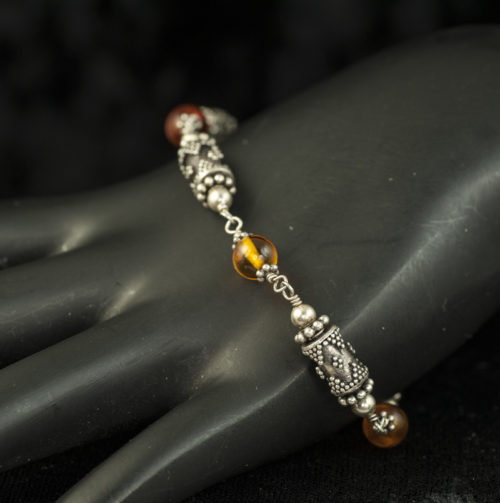 Amber and Silver Bead link bracelet