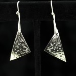 Earrings - Arg Silver triangles chased and domed