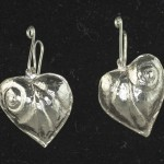 Earrings - Repousse silver heart