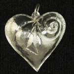 repousse'sterling silver heart pendant-silver jewelry-handcrafted jewelry
