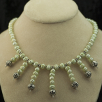 Lt green and silver dangle necklace2