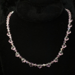 Pink Swarovski Necklace with Flowers on Blk