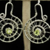Peridot woven silver spiral earrings