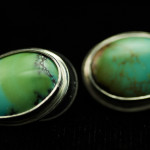 Earrings-Turquoise oval studs in silver