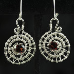 Earrings- silver spirals with garnets 2015
