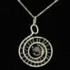 Necklace/Pendant-Red Garnet in woven silver spirals